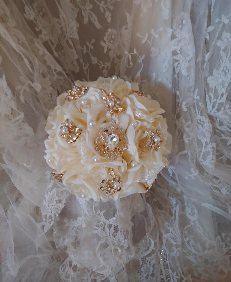 Bridesmaid Brooch Bouquet Ivory Wedding Flowers Made to Order
