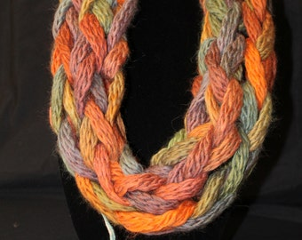 Fall Colors Arm Knitted Wool and Acrylic Mobius Cowl