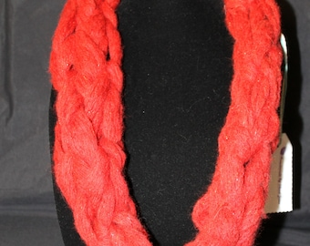 Red Acrylic and Metallic Arm Knit Mobius Cowl