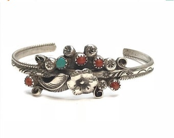 Sterling Silver Turquoise Red Coral Blossom Cuff Bracelet