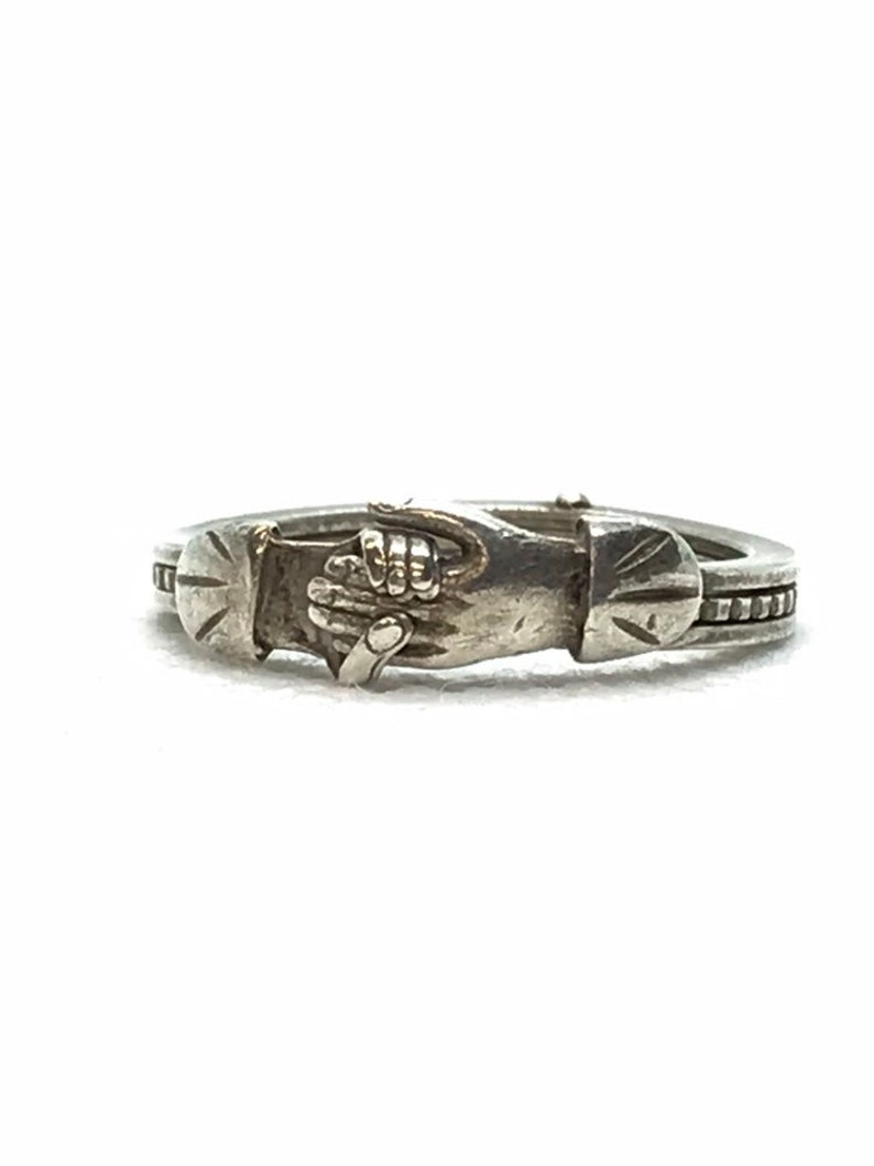 Sterling Silver Fede Gimmel Ring Betrothal Ring Puzzle Ring