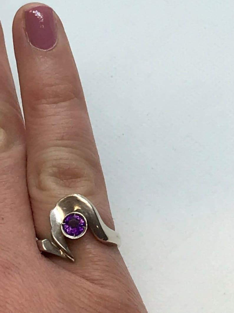 Sterling Silver Amethyst Modernist Ring Hallmarked