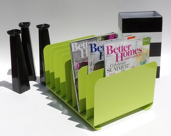 Desk Organizer Mail Sorter Letter Holder Lime Green Office Decor Inbox Bill  Slot File Box Metal Desktop Filing System Home Business Vintage