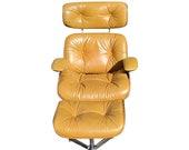 Selig Plycraft Chair Ottoman Frank Doerner 1975 Mid Century Modern Bentwood Nutmeg Leather Chair Atomic Retro MCM Eames Era Chrome Wood