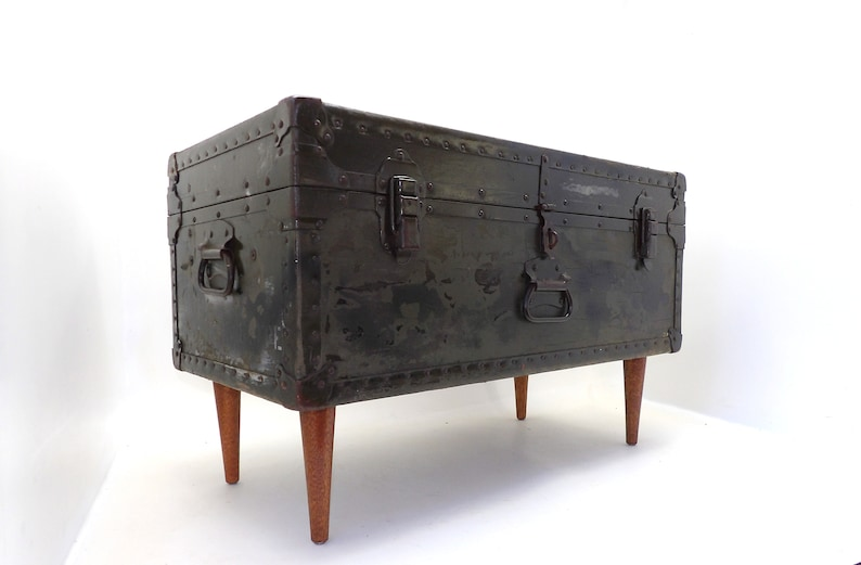 Amazing 1946 Miller Coffee Table Trunk Military Army Footlocker Cabinet Storage Case Rustic Man Cave Travel Foot Locker Of Bed Bench Rectangle Table Inzonedesignstudio Interior Chair Design Inzonedesignstudiocom