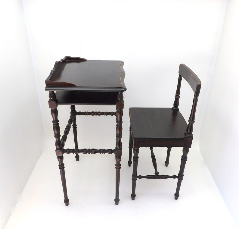 1800u0027s Antique Childu0027s School Desk U0026 Chair Set Mahogany Turned Figural Legs  Country Farmhouse Petite Classroom Decor