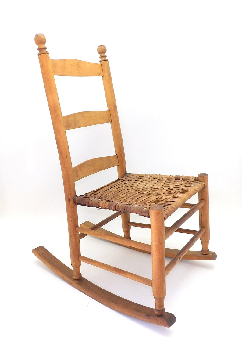 Admirable Early 1900S Antique Childs Rocking Chair Pine And Rattan Caning Minimalist Shaker Ladder Back Design Interior Design Ideas Inamawefileorg