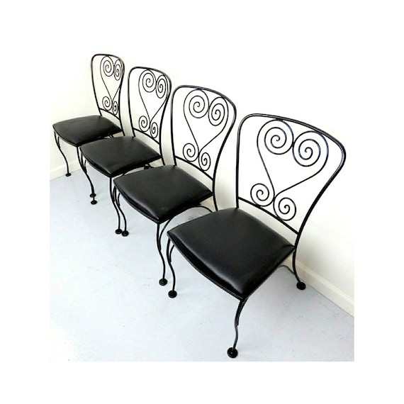 Patio Chairs Wrought Iron Antique Chair Set Metal Black Satin Etsy