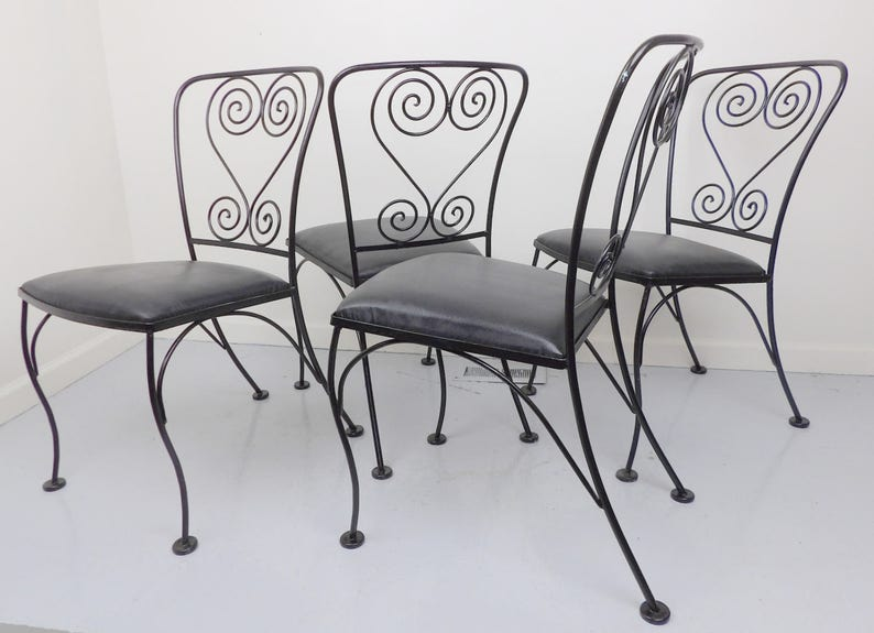 Pleasing Patio Chairs Wrought Iron Antique Chair Set Metal Black Satin On Black Vinyl Vintage Homecrest Shabby Chic Mid Century Free Shipping Home Interior And Landscaping Dextoversignezvosmurscom
