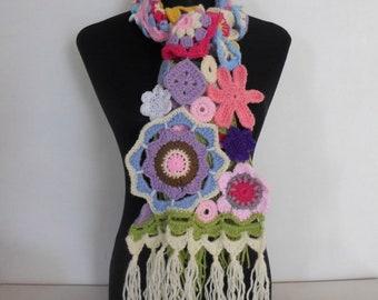CROCHET PATTERN - Scrapalicious Flower Crochet Scarf Pattern PDF Instant Digital Download