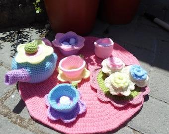 CROCHET PATTERN - Flower Garden Crochet Tea Play Set Pattern PDF Instant Digital Download