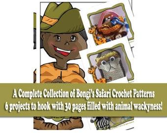 6 Safari Animal Inspired Crochet Patterns  PDF Crochet Pattern Bundle Instant Digital Download