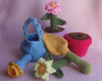 CROCHET PATTERN - Flower Pot Garden Crochet Play Set Pattern PDF Instant Digital Download