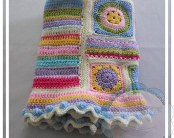 CROCHET PATTERN - Scrapalicious Crochet Blanket Pattern PDF Instant Digital Download