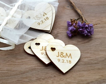 50 Laser cut and engraved wooden hearts - Made to order