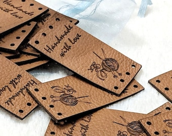 21490a09b Leather labels for handmade items 1x2 inches - Personalized leather labels