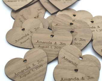 Wedding Favors : 100 Laser cut and custom engraved hearts