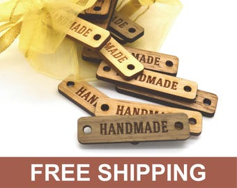 100 Wooden Product Tags - 0.4 x 1.6 Inches - laser cut and engraved - FREE SHIPPING INCLUDED - knitting tags, crochet tags