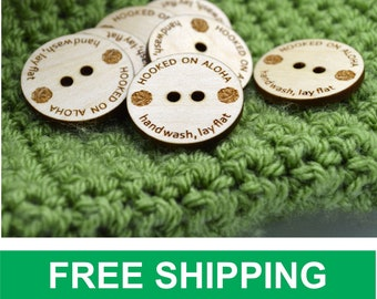"""50 Wooden Buttons 1"""" - Ideal for crochet and knitted products - customized with your text"""