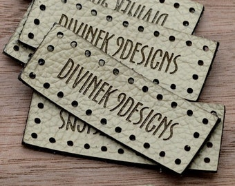 Laser engraved labels 0.75x2 inches - made from real leather - Leather labels, Personalized leather labels, Leather tags , Custom Labels