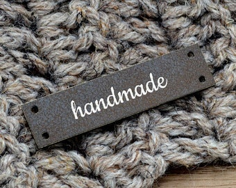 30 Custom Leatherette labels 0.5x2 inches - Personalized labels, Custom Labels , Knitting Labels