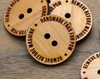 """50 Wooden Buttons 1"""" - Handmade Pom Buttons - Ideal for crochet and knitted products"""