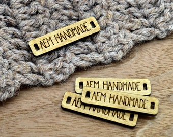 50 Wooden Tags - 0.4 x 1.6 Inches - laser cut and engraved -FREE SHIPPING INCLUDED - knitting tags, crochet tags
