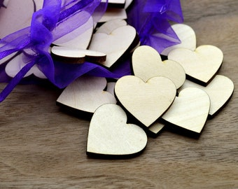 50 Laser cut wooden hearts - choose between available sizes