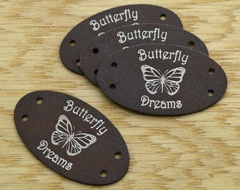 25 Custom Oval Leatherette labels 1x1.75 inches - Personalized labels, Custom Labels , Knitting Labels