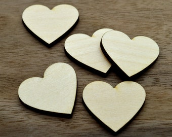 Crafting Supplies - 100 Laser cut wooden hearts - various sizes available