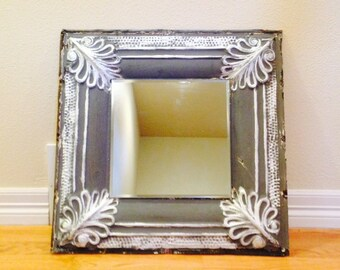 Antique ceiling tile mirror, Blue with silver, tin mirror, ceiling tile