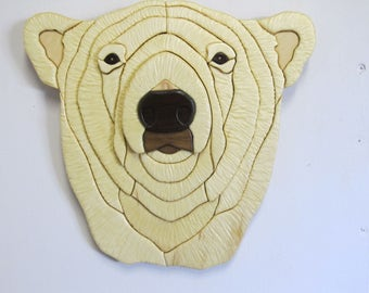 Intarsia polar bear face