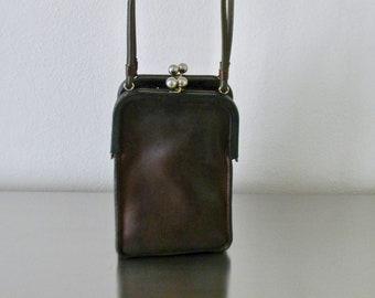 730602e302 Vintage Coach NYC Pre Creed Mocha Leather Double Kisslock Swing Bag