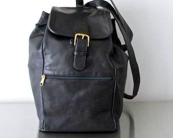 Vintage Coach Black Leather Backpack, XXL Unisex Rucksack, Refurbished Coach Backpack, American Made Carry On Bag