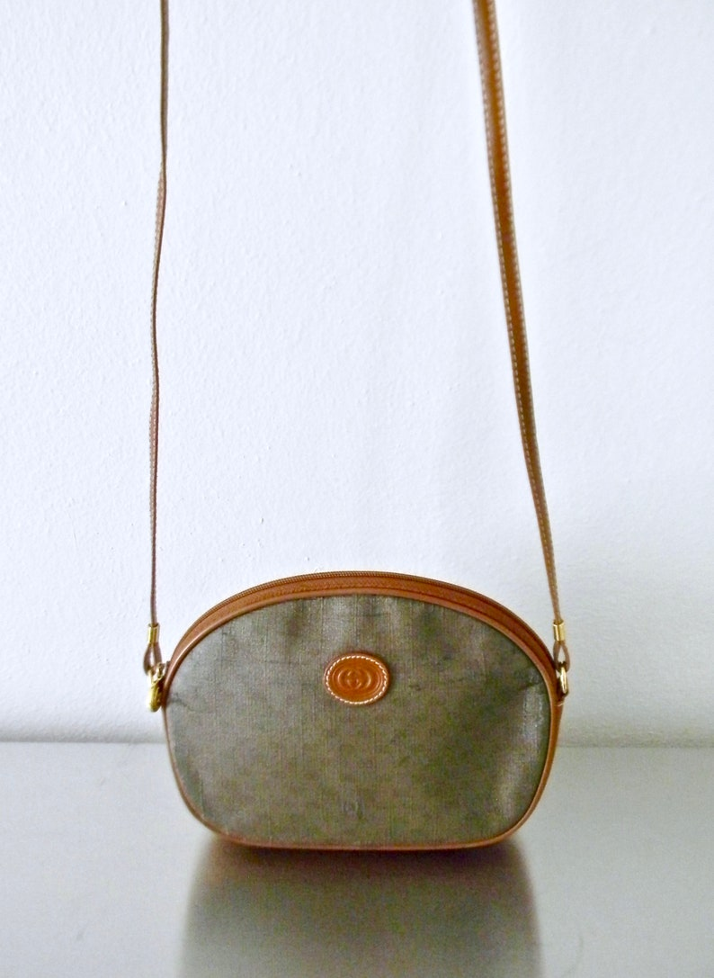 427d5009c1c4 Vintage Gucci GG Monogram Coated Canvas Small Crossbody Purse | Etsy