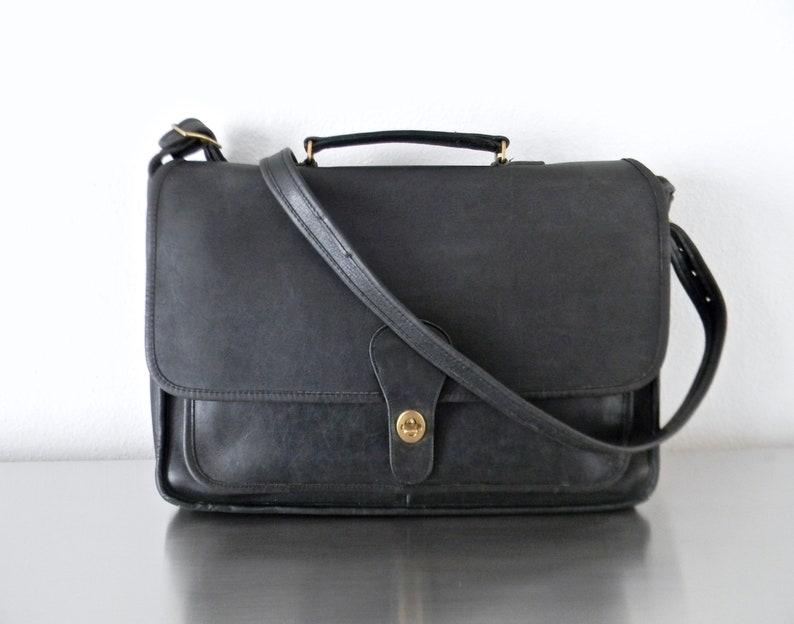 371062813 Vintage Black Leather NYC Metropolitan Brief Bag Refurbished   Etsy