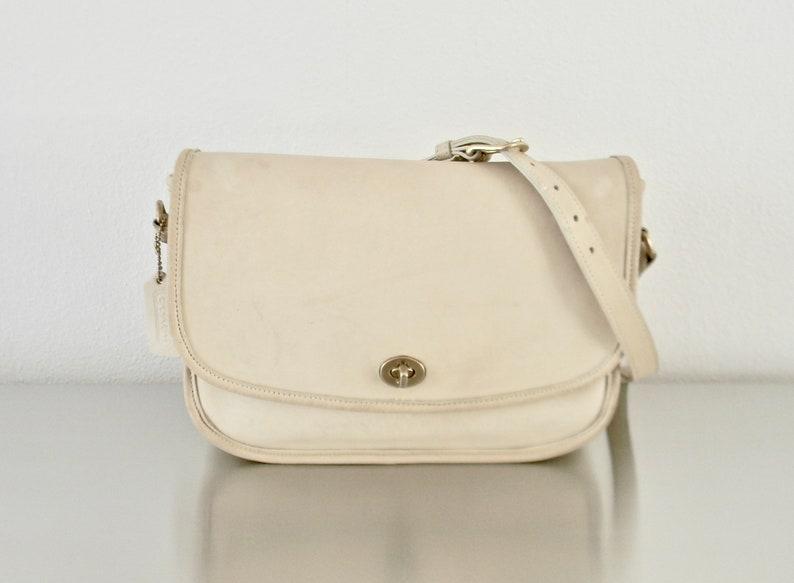 b876890209b0f Vintage Bone Colored Leather Coach City Bag EUC Refurbished