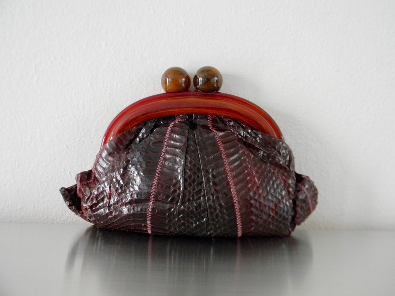 439a79d74cc7 Vintage Aubergine Python Skin and Lucite Clutch Deep Red | Etsy