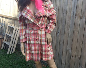Pink plaid jacket from the 80s
