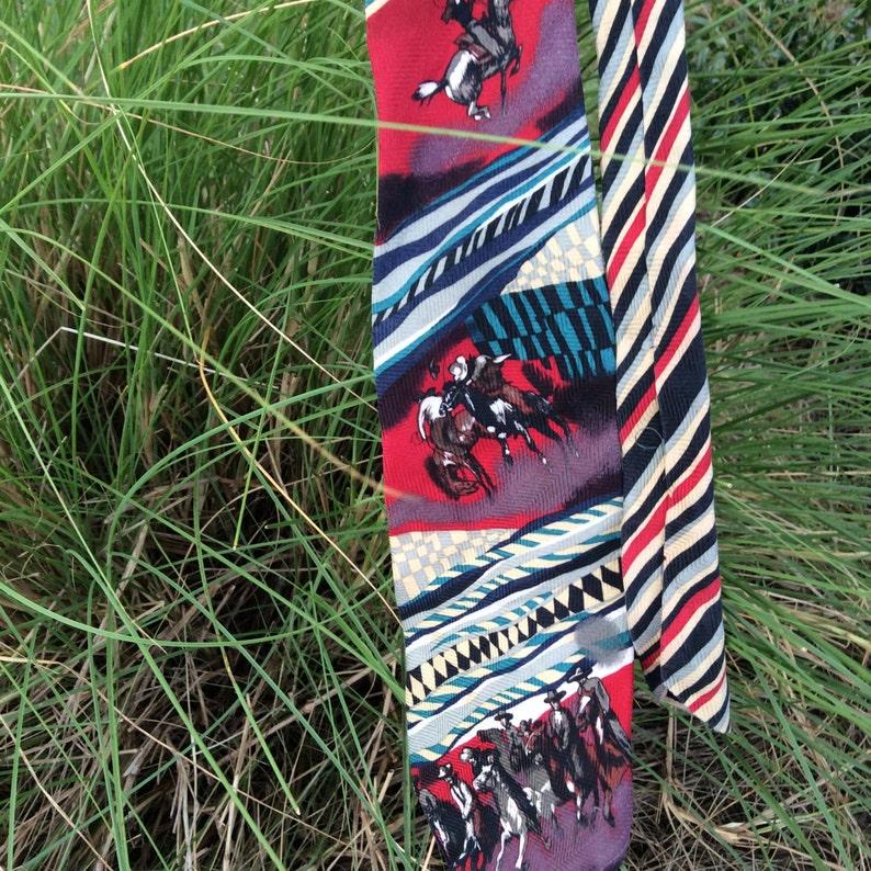 Pitti Uomo by Moda men/'s necktie cowboy design 80s era men/'s tie