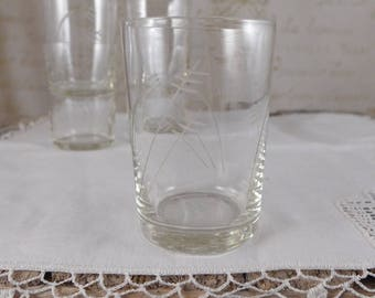 Set of 5 glasses, glass, Chalice glass, set of 6 pieces, vintage, retro, glass wine, brocante, antiques, cup