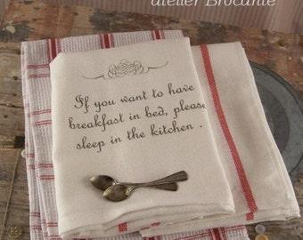 Kitchen Towel  Breakfast in bed ..., tea towels, kitchen cloth, kitchen towels, paris, kitchen retro, wine, life, Breakfast