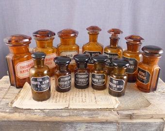 Vintage Pharmacy bottle, dark glass, white label, brown bottle, Bottle, A bottle, vintage, retro bottle, brocante, antiques,