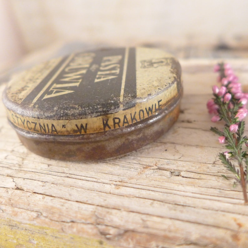 can box container shoes antiques tin mortar Box  Creams for footwear atelier brocante