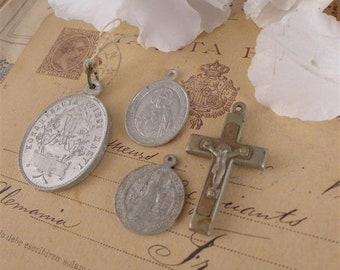 Medallion and cross, set, cross, Small cross, Traditional cross, church, prayer, sacred, religious, shabby chic