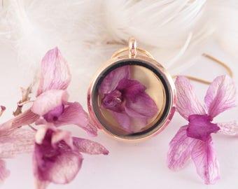 Double-sided necklace, real orchid and watercolor, Vintage terrarium necklace orchid under the dome, pendant, terrarium, nostalgic pendant,