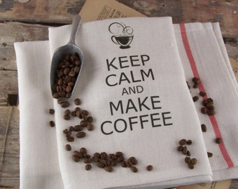 Kitchen Towel Keep Calm and Make Coffee, tea towels, kitchen cloth, kitchen towels, paris, kitchen retro, Chocolate, Coffee