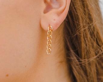 Illusion Cube Earring  Cubist Gold Earring  Gold Hoop Stud Post   Hoop Earrings  Lightweight Post Earring   Nickle Free Earring