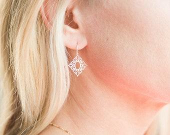 Filigree Lace Earrings // Diamond Shaped Gold Filigree Laser Cut // Lacey Earrings