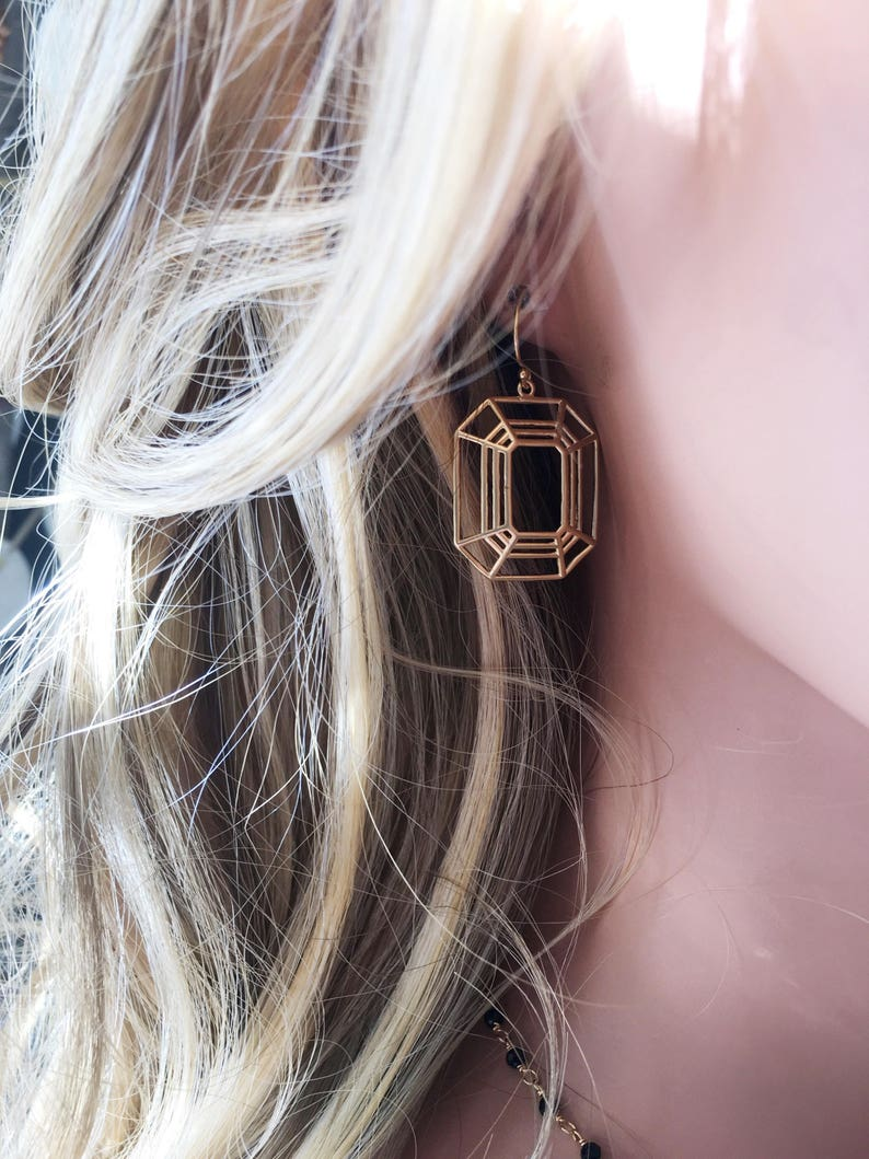 Framed Illusion Earring  Matte Gold Earrings  Everyday Gold earring  Simple Earrings